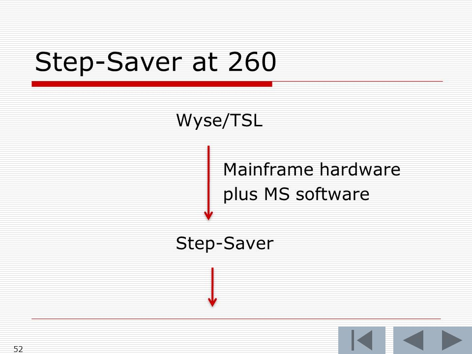 Step-Saver at 260 Wyse/TSL Mainframe hardware plus MS software Step-Saver 52