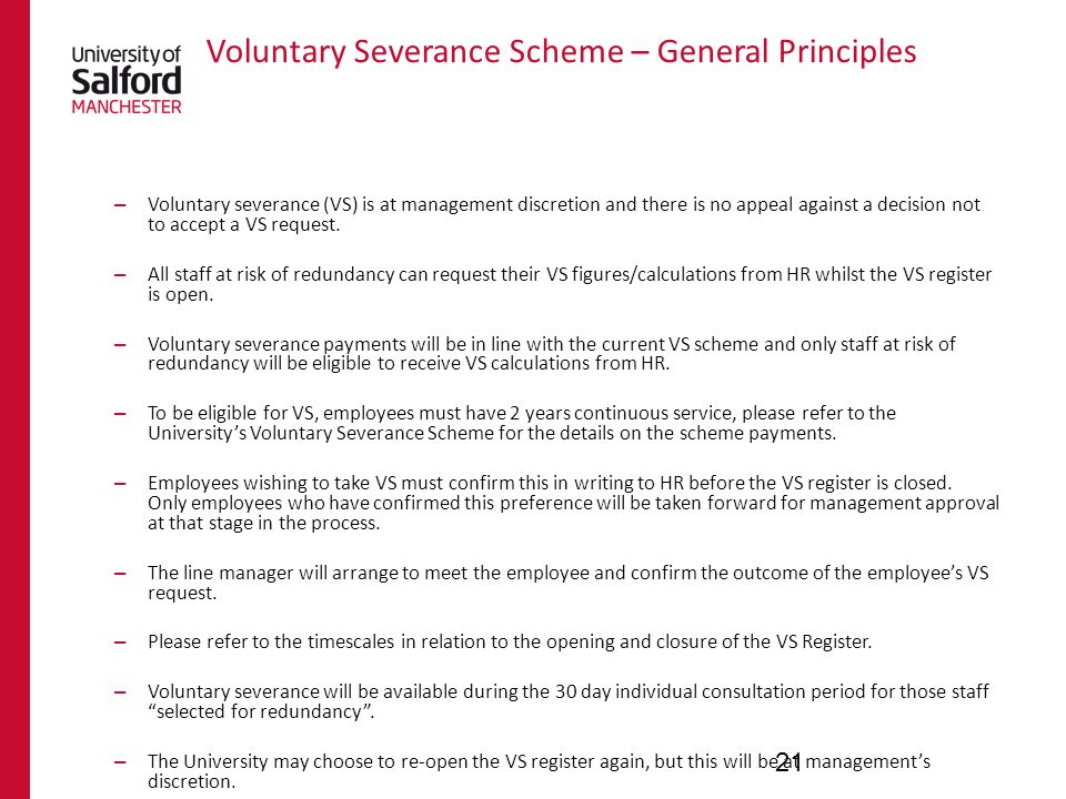 Voluntary Severance Scheme – General Principles – Voluntary severance (VS) is at management discretion and there is no appeal against a decision not t