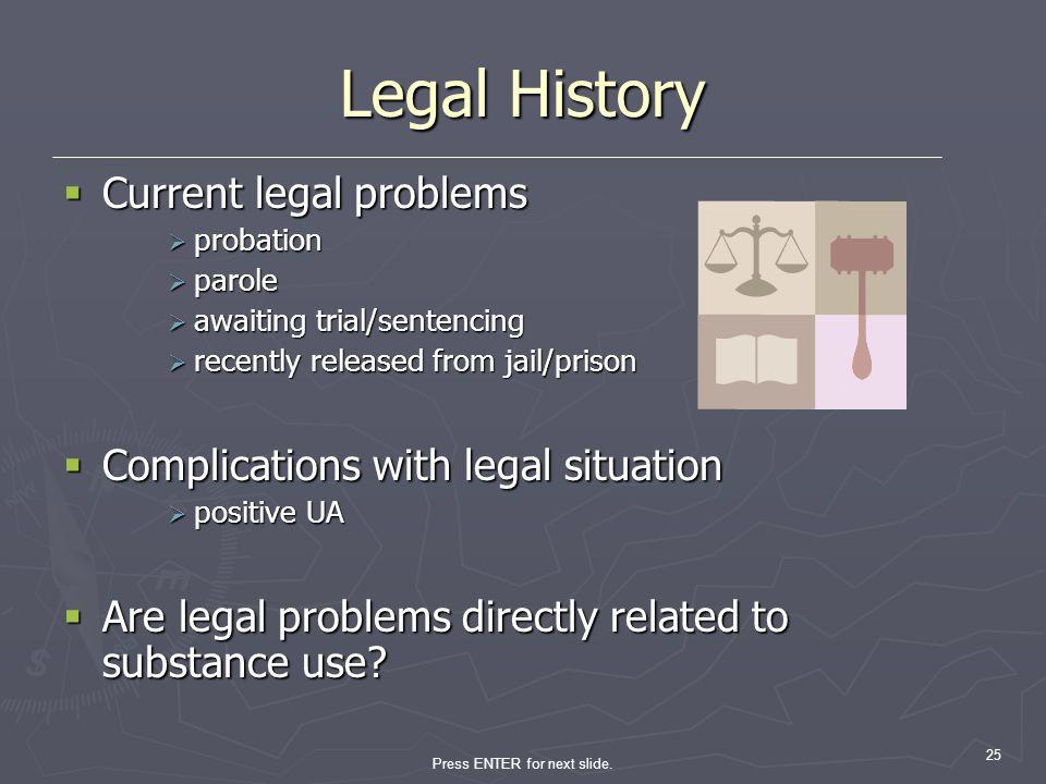 Press ENTER for next slide. 25 Legal History Current legal problems Current legal problems probation probation parole parole awaiting trial/sentencing