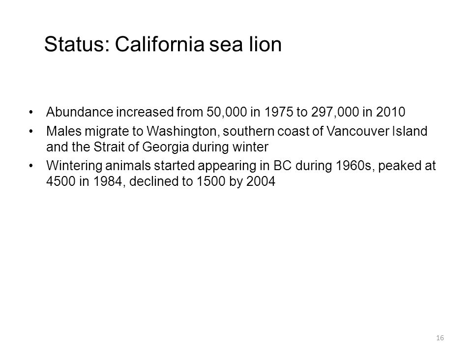 Status: California sea lion Abundance increased from 50,000 in 1975 to 297,000 in 2010 Males migrate to Washington, southern coast of Vancouver Island