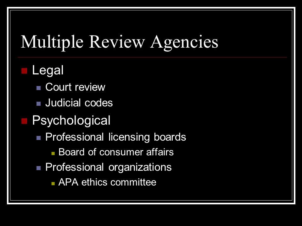 Multiple Standards Legal Grievances, Appeals Legislation Psychological APA Forensic Specialty, APA Ethics, PC standards (forthcoming) AFCC PC guidelines Licensing standards