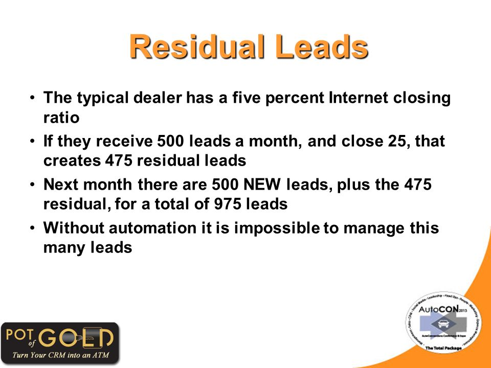 Residual Leads Residual Leads The typical dealer has a five percent Internet closing ratio If they receive 500 leads a month, and close 25, that creates 475 residual leads Next month there are 500 NEW leads, plus the 475 residual, for a total of 975 leads Without automation it is impossible to manage this many leads
