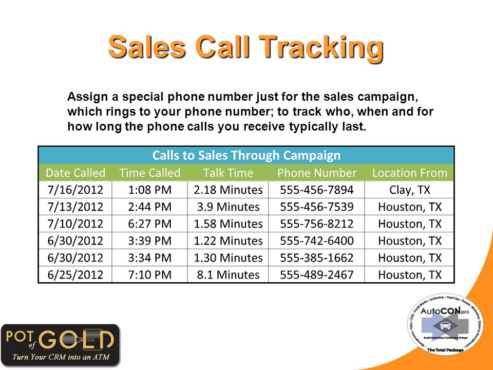Sales Call Tracking Assign a special phone number just for the sales campaign, which rings to your phone number; to track who, when and for how long the phone calls you receive typically last.