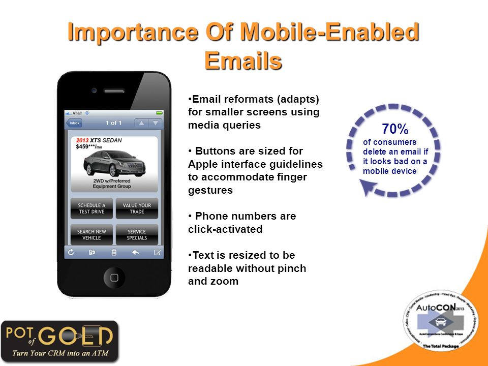 Importance Of Mobile-Enabled Emails Email reformats (adapts) for smaller screens using media queries Buttons are sized for Apple interface guidelines to accommodate finger gestures Phone numbers are click-activated Text is resized to be readable without pinch and zoom 70% of consumers delete an email if it looks bad on a mobile device
