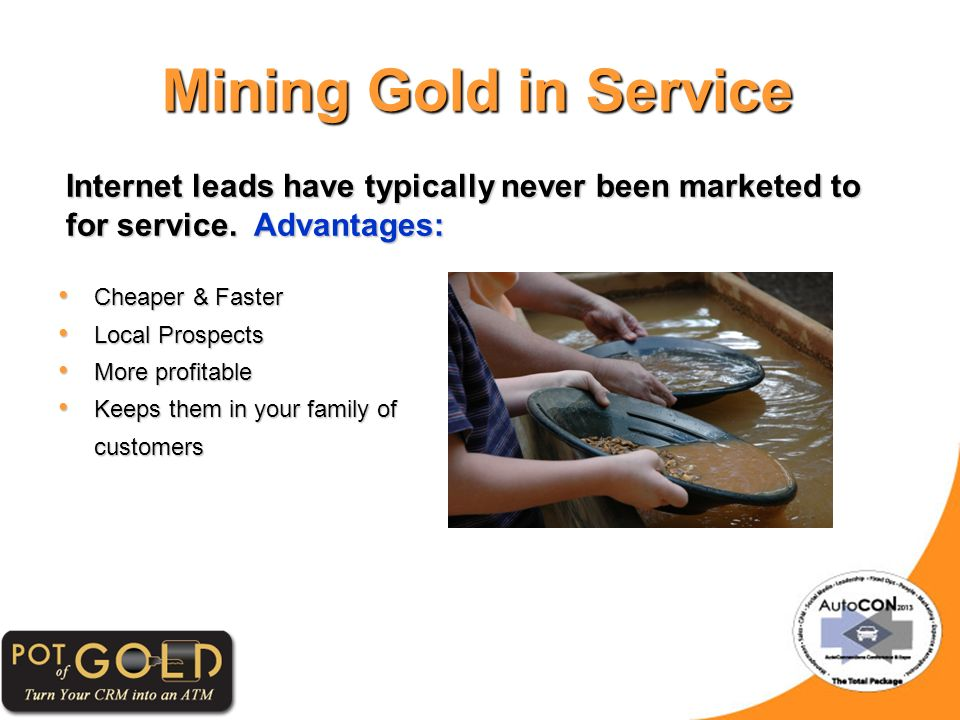 Mining Gold in Service Internet leads have typically never been marketed to for service.