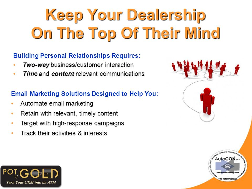 Keep Your Dealership On The Top Of Their Mind Building Personal Relationships Requires: Two-way business/customer interactionTwo-way business/customer interaction Time and content relevant communicationsTime and content relevant communications Email Marketing Solutions Designed to Help You: Automate email marketingAutomate email marketing Retain with relevant, timely contentRetain with relevant, timely content Target with high-response campaignsTarget with high-response campaigns Track their activities & interestsTrack their activities & interests