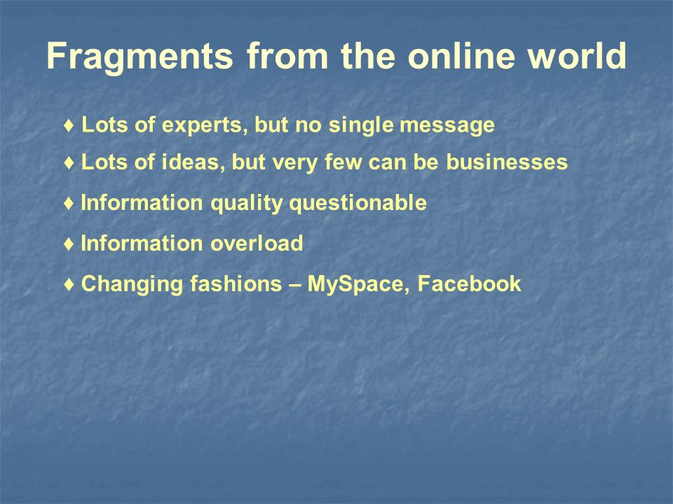Fragments from the online world Information quality questionable Lots of ideas, but very few can be businesses Information overload Changing fashions – MySpace, Facebook Lots of experts, but no single message