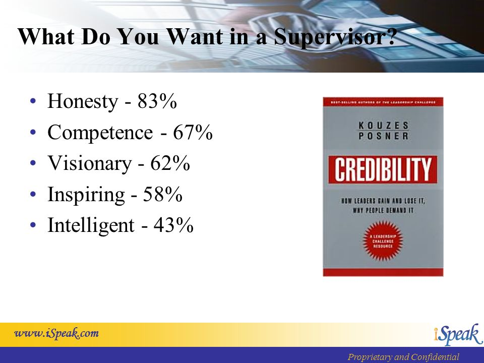 www.iSpeak.com Proprietary and Confidential What Do You Want in a Supervisor? Honesty - 83% Competence - 67% Visionary - 62% Inspiring - 58% Intellige