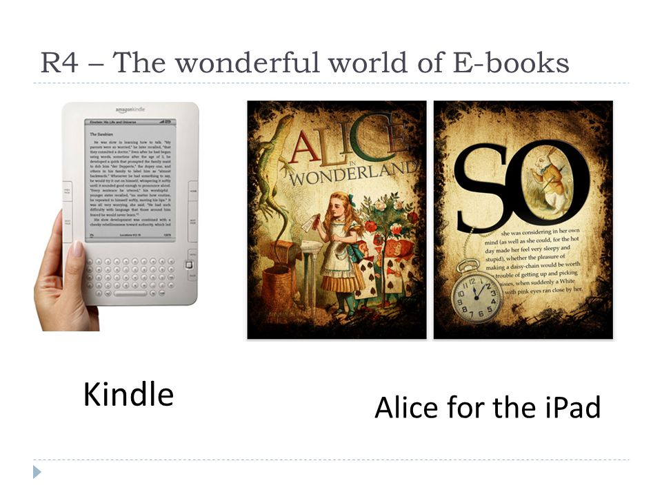 R4 – The wonderful world of E-books Kindle Alice for the iPad