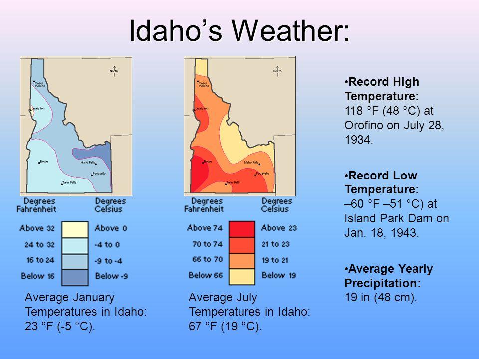 Idahos Weather: Average January Temperatures in Idaho: 23 °F (-5 °C).