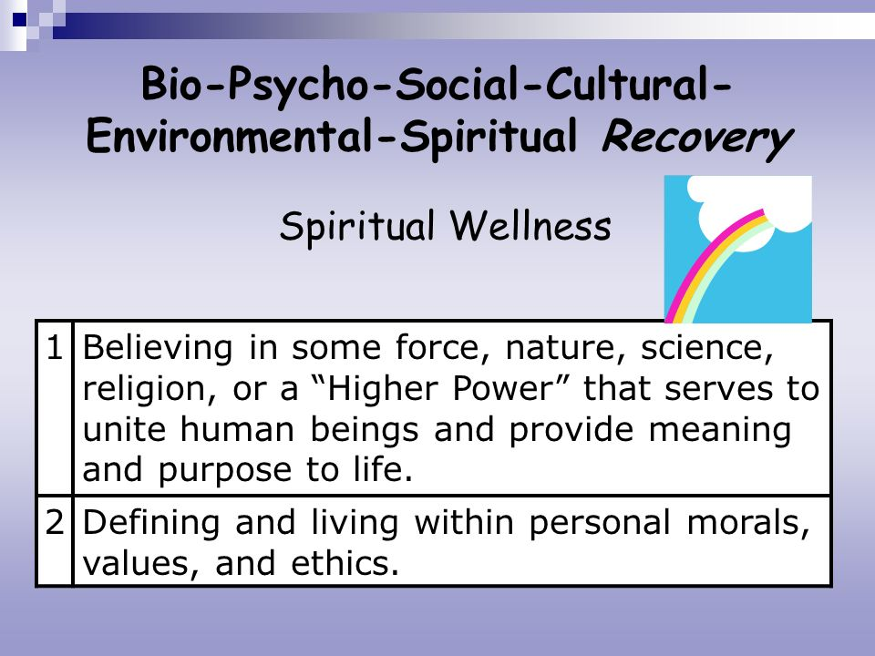 Bio-Psycho-Social-Cultural- Environmental-Spiritual Recovery Spiritual Wellness 1Believing in some force, nature, science, religion, or a Higher Power