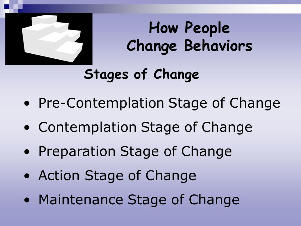 Stages of Change How People Change Behaviors Pre-Contemplation Stage of Change Contemplation Stage of Change Preparation Stage of Change Action Stage
