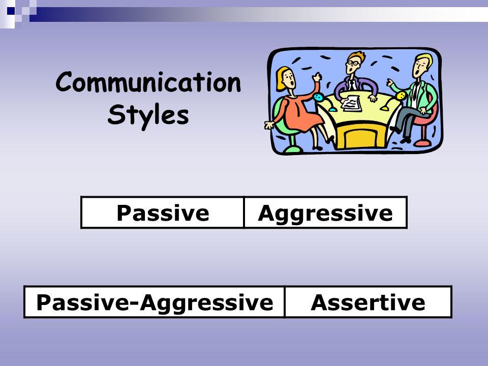 Communication Styles PassiveAggressive Passive-AggressiveAssertive
