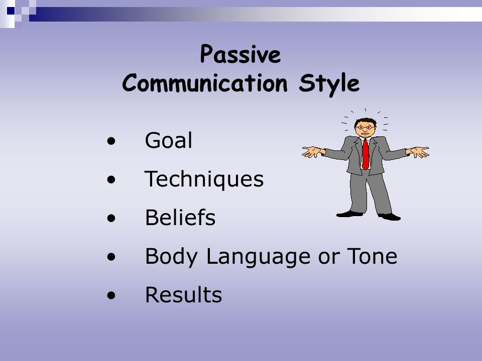 Passive Communication Style Goal Techniques Beliefs Body Language or Tone Results