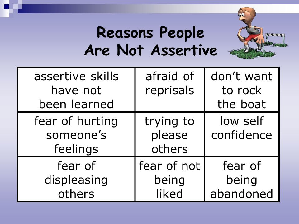 Reasons People Are Not Assertive assertive skills have not been learned afraid of reprisals dont want to rock the boat fear of hurting someones feelin