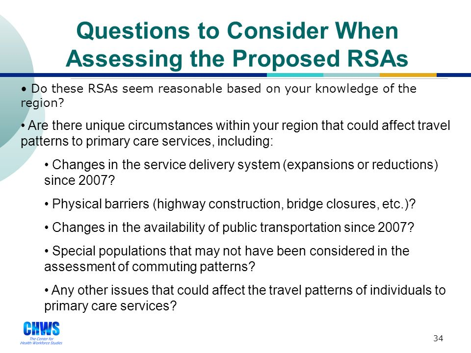 33 Assessing the RSAs