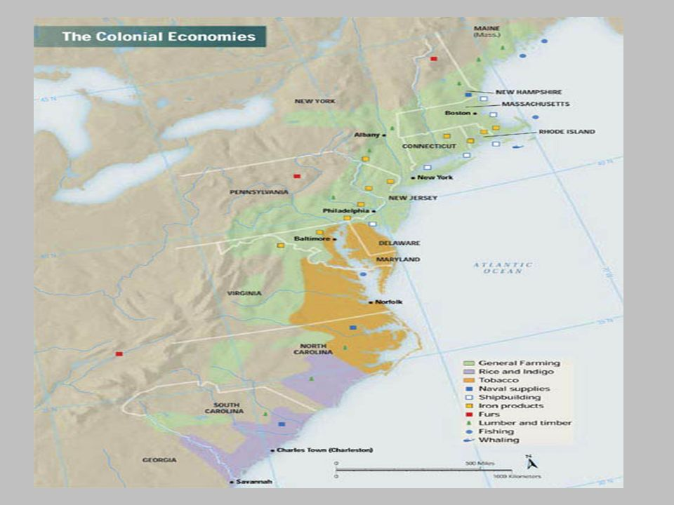 Carolinas – 1663 / NC & SC – 1712/ Royal - 1729 Impact of the British West Indies 1.West Indies, especially Barbados, developed sugar plantation economy 2.Slaves in British West Indies outnumbered whites 4 to 1 3.Slave codes adopted in Barbados to control slaves 4.West Indies relied on mainland British America for foodstuffs.