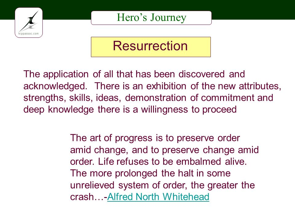 Heros Journey Resurrection The application of all that has been discovered and acknowledged.