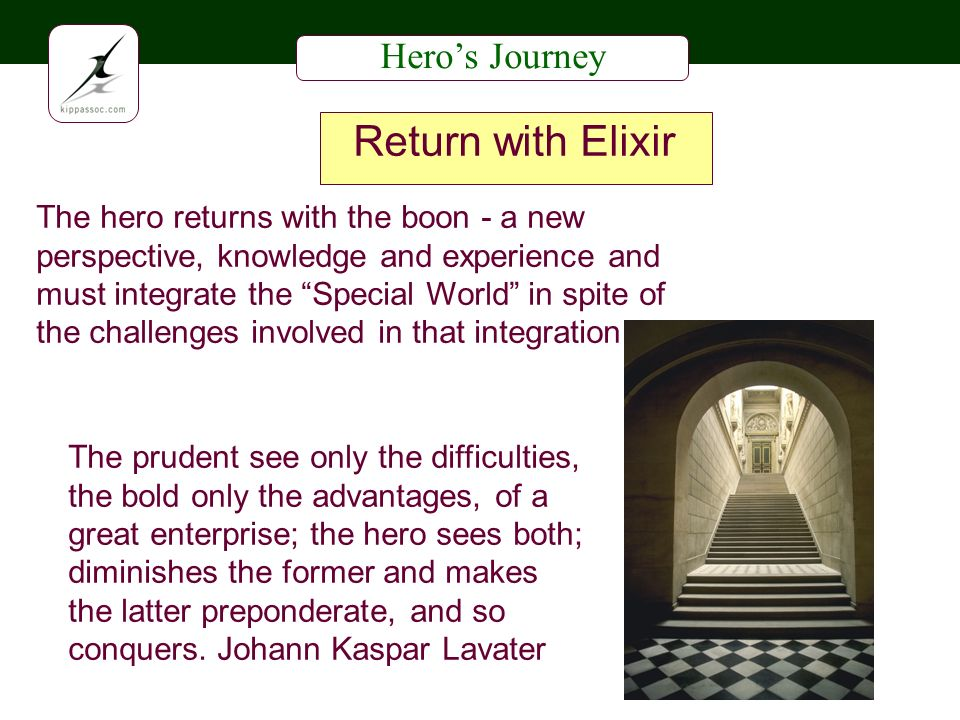 Heros Journey Return with Elixir The hero returns with the boon - a new perspective, knowledge and experience and must integrate the Special World in spite of the challenges involved in that integration The prudent see only the difficulties, the bold only the advantages, of a great enterprise; the hero sees both; diminishes the former and makes the latter preponderate, and so conquers.