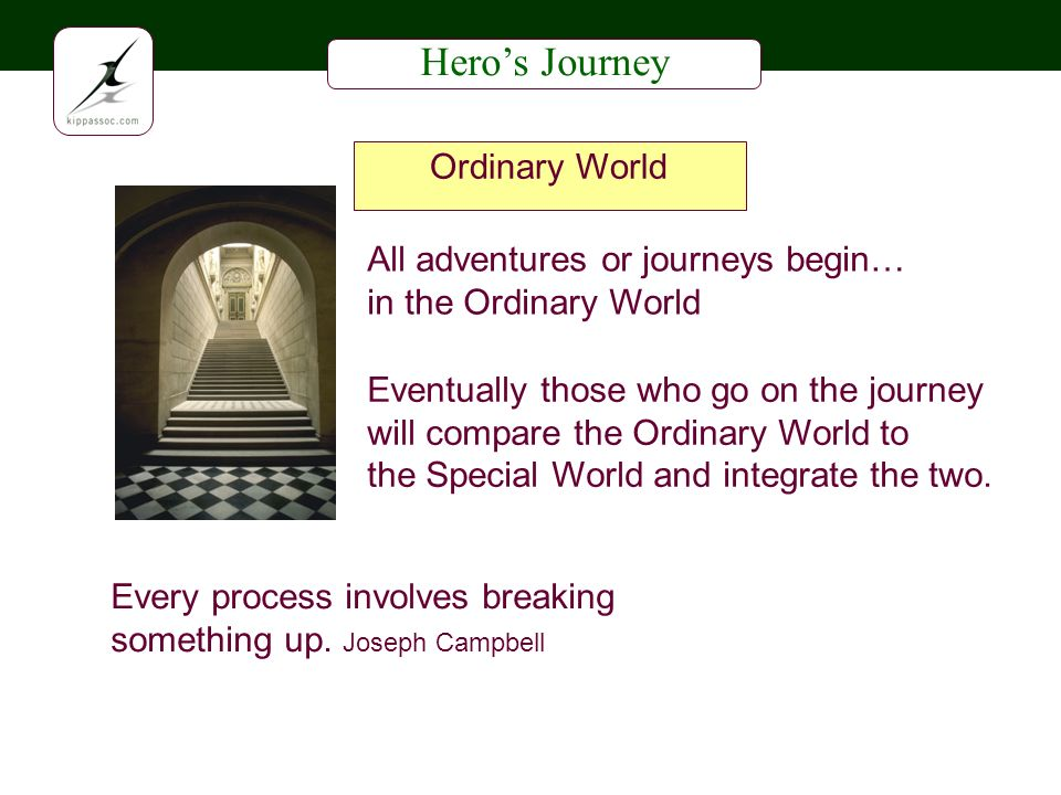 Heros Journey All adventures or journeys begin… in the Ordinary World Every process involves breaking something up.