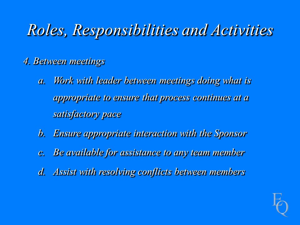 Roles, Responsibilities and Activities 4.