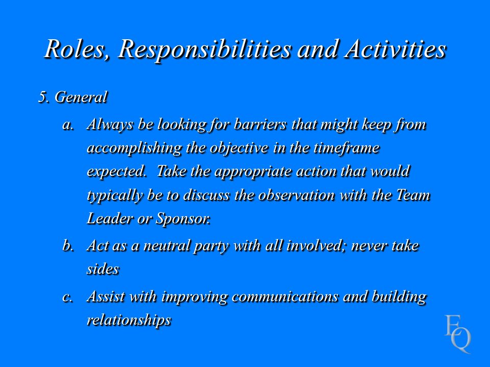 Roles, Responsibilities and Activities 5.