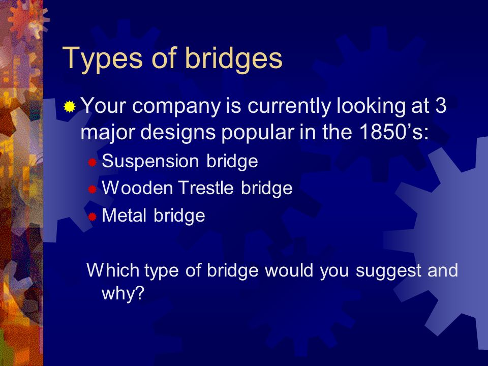 Types of bridges Your company is currently looking at 3 major designs popular in the 1850s: Suspension bridge Wooden Trestle bridge Metal bridge Which