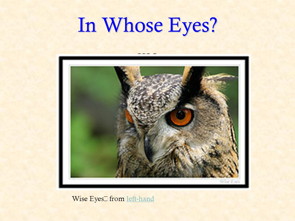 In Whose Eyes Wise Eyes from left-handleft-hand