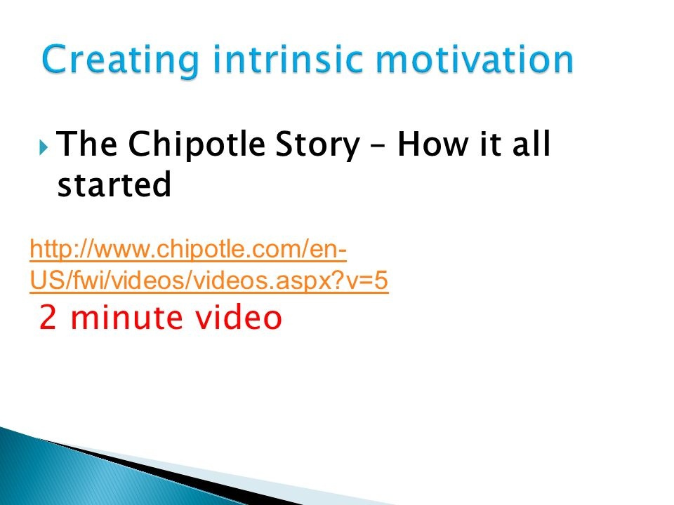 The Chipotle Story – How it all started 2 minute video http://www.chipotle.com/en- US/fwi/videos/videos.aspx v=5