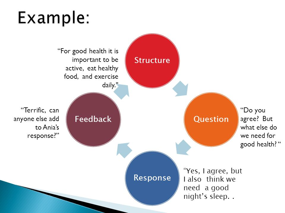 StructureQuestionResponseFeedback For good health it is important to be active, eat healthy food, and exercise daily. Do you agree.