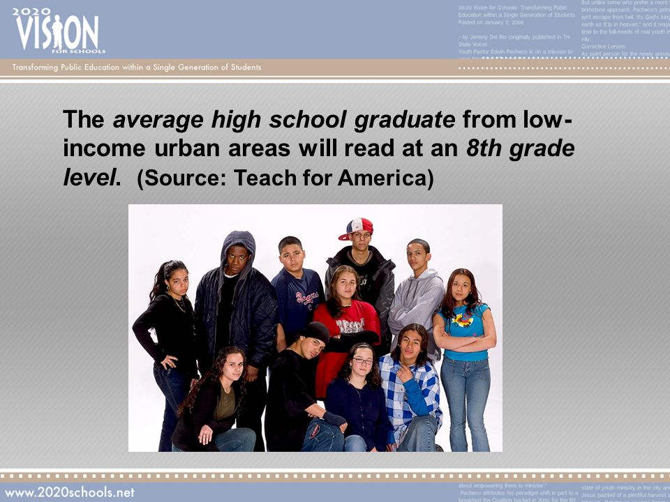 The average high school graduate from low- income urban areas will read at an 8th grade level.