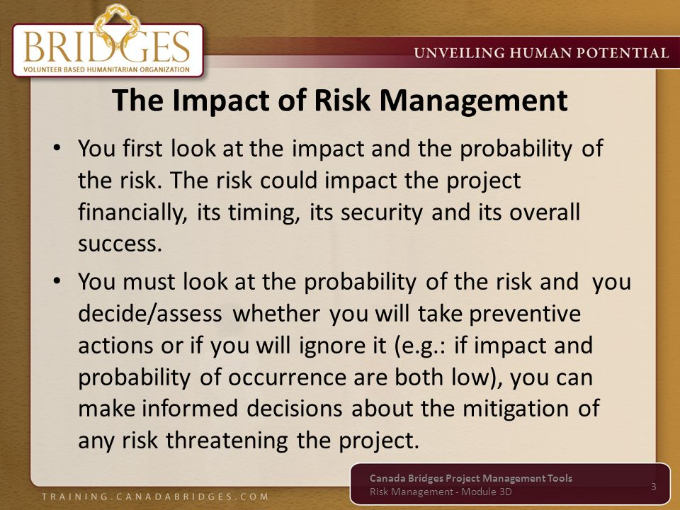 You first look at the impact and the probability of the risk. The risk could impact the project financially, its timing, its security and its overall