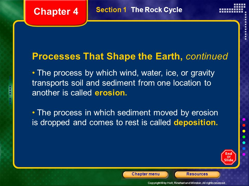 Copyright © by Holt, Rinehart and Winston. All rights reserved. ResourcesChapter menu Processes That Shape the Earth, continued The process by which w