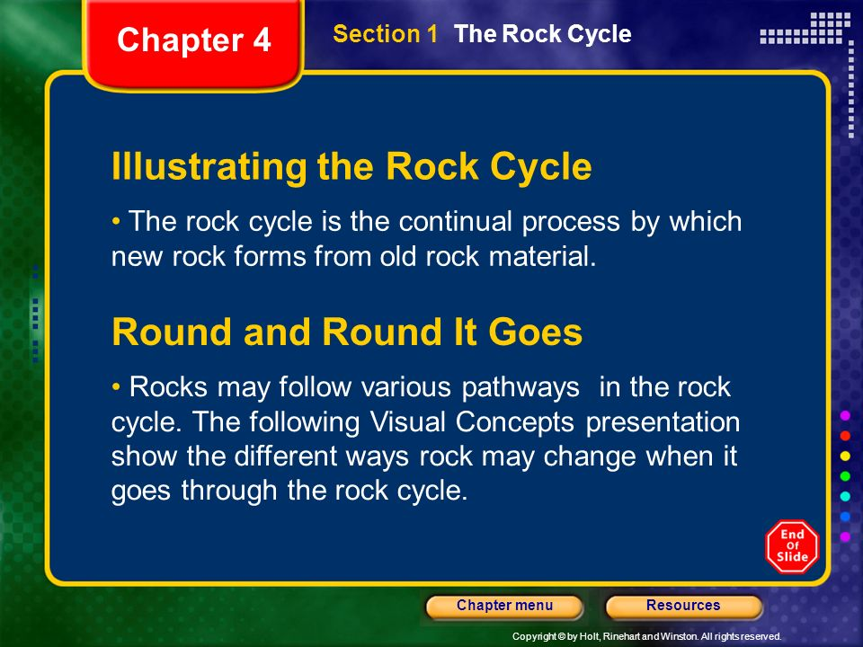Copyright © by Holt, Rinehart and Winston. All rights reserved. ResourcesChapter menu Illustrating the Rock Cycle The rock cycle is the continual proc