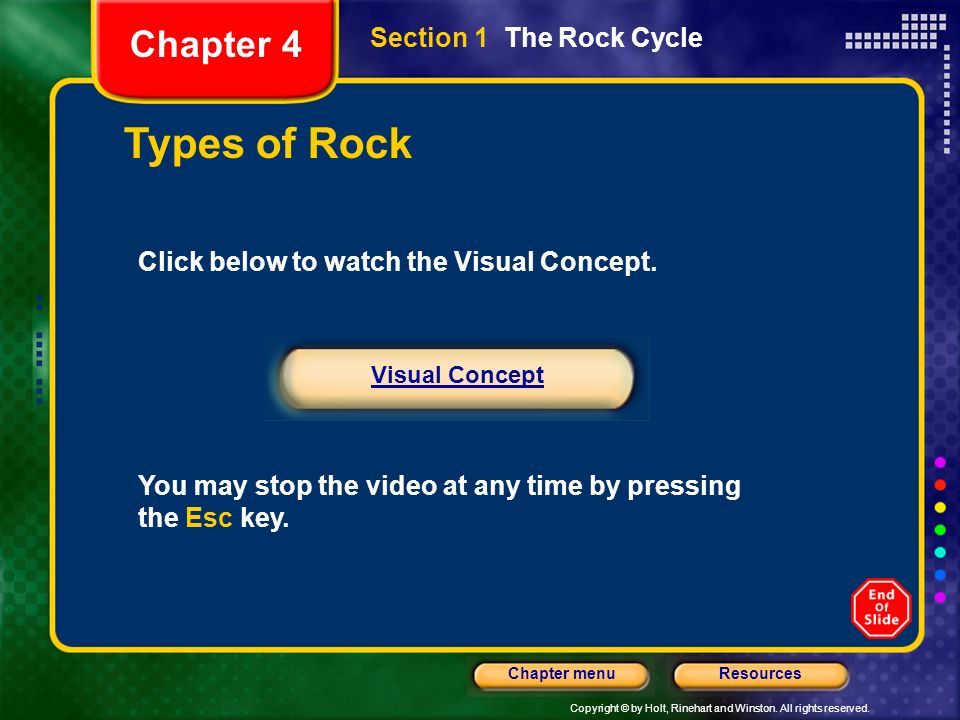 Copyright © by Holt, Rinehart and Winston. All rights reserved. ResourcesChapter menu Types of Rock Click below to watch the Visual Concept. You may s