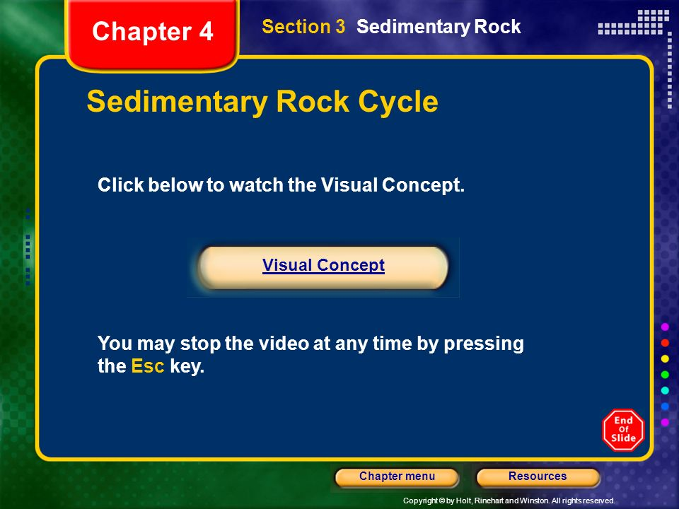 Copyright © by Holt, Rinehart and Winston. All rights reserved. ResourcesChapter menu Section 3 Sedimentary Rock Chapter 4 Sedimentary Rock Cycle Clic