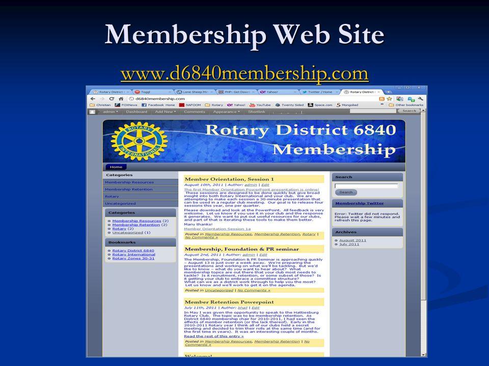 Membership Web Site www.d6840membership.com