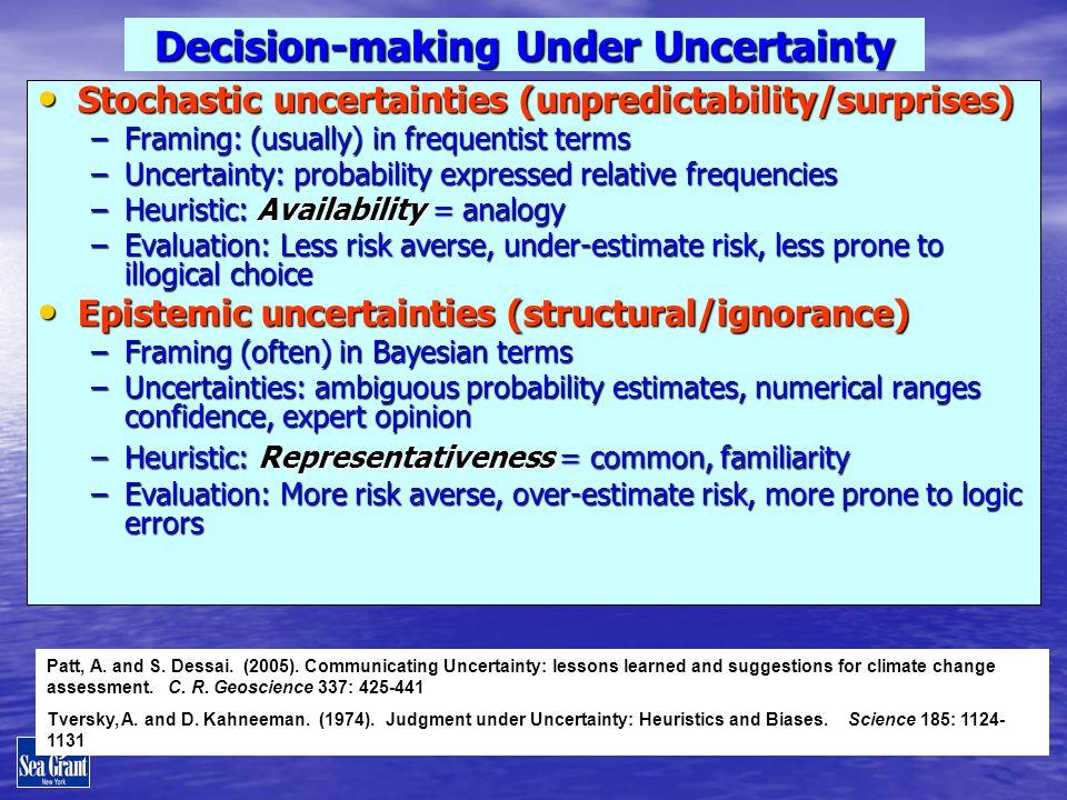 Decision-making Under Uncertainty Stochastic uncertainties (unpredictability/surprises) Stochastic uncertainties (unpredictability/surprises) –Framing
