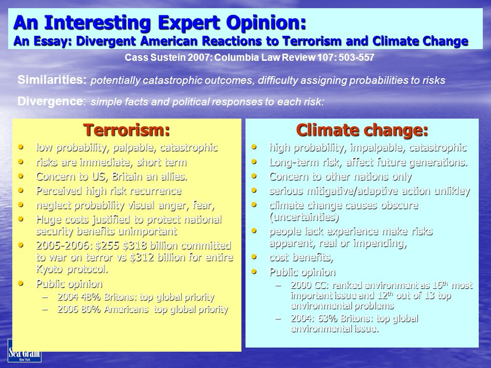 An Interesting Expert Opinion: An Essay: Divergent American Reactions to Terrorism and Climate Change Terrorism: low probability, palpable, catastrophic low probability, palpable, catastrophic risks are immediate, short term risks are immediate, short term Concern to US, Britain an allies.
