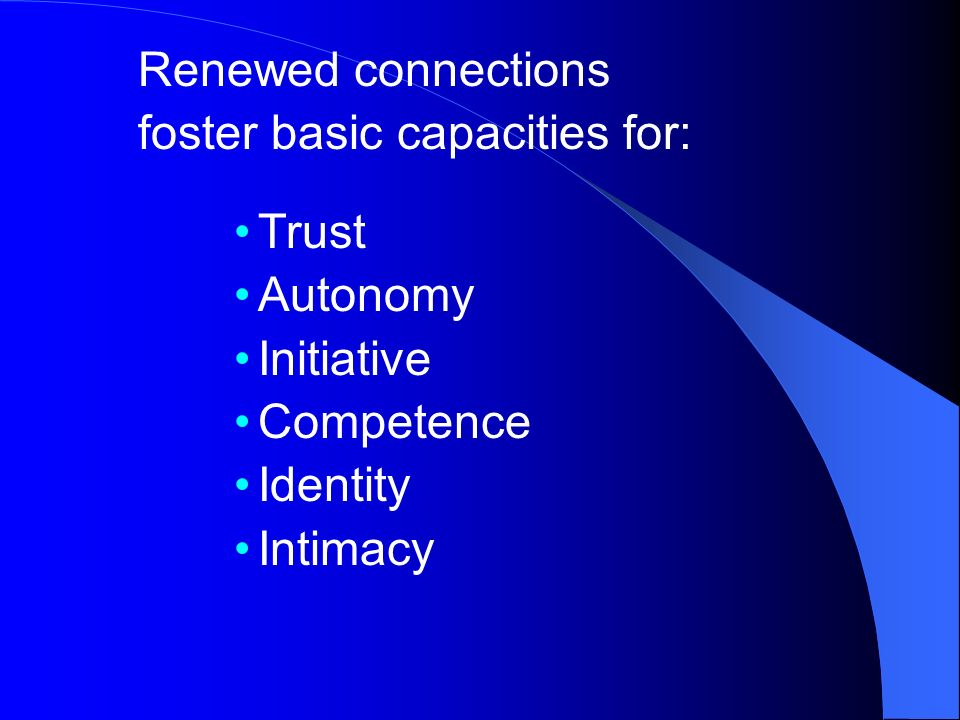 Renewed connections foster basic capacities for: Trust Autonomy Initiative Competence Identity Intimacy