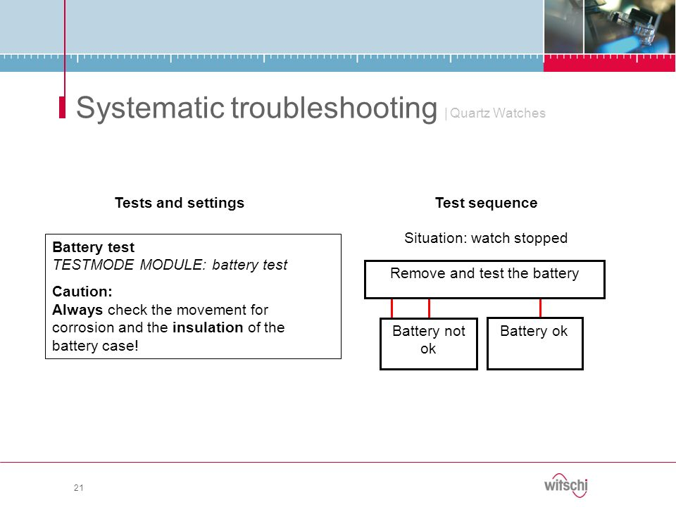21 Systematic troubleshooting | Quartz Watches Tests and settings Battery test TESTMODE MODULE: battery test Caution: Always check the movement for co