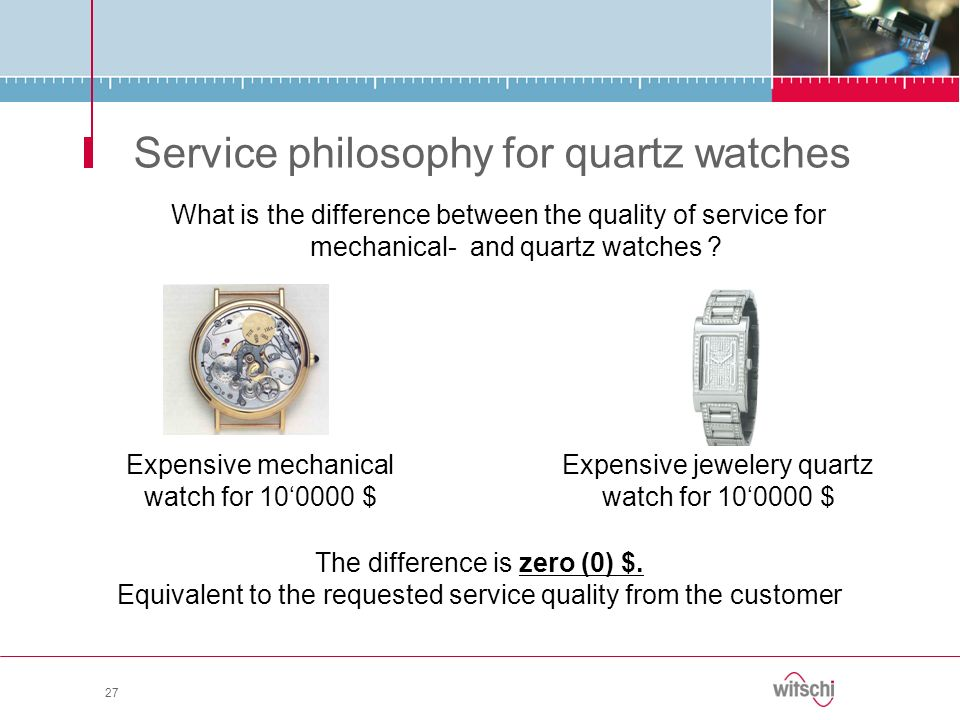 Service philosophy for quartz watches What is the difference between the quality of service for mechanical- and quartz watches ? 27 Expensive mechanic