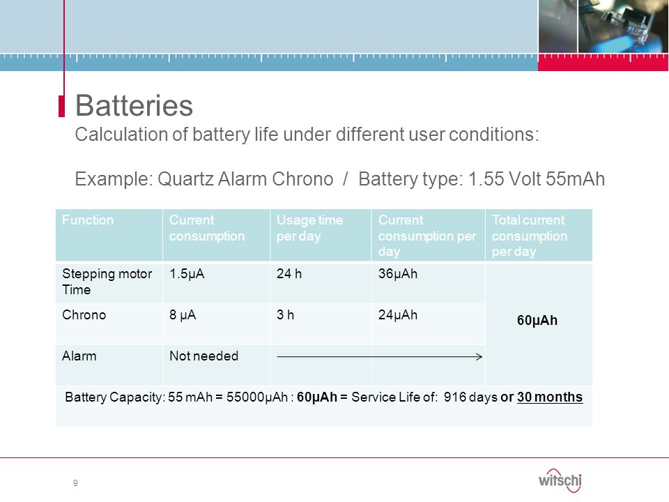 9 Batteries Calculation of battery life under different user conditions: Example: Quartz Alarm Chrono / Battery type: 1.55 Volt 55mAh FunctionCurrent