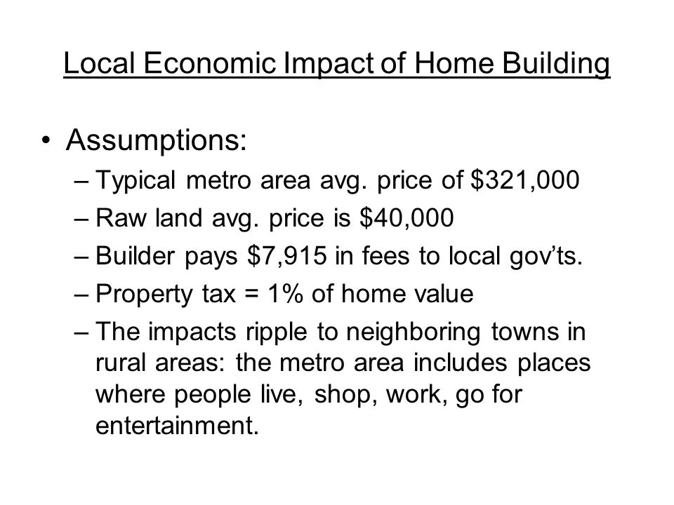 Local Economic Impact of Home Building Assumptions: –Typical metro area avg.