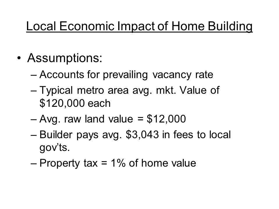 Local Economic Impact of Home Building Assumptions: –Accounts for prevailing vacancy rate –Typical metro area avg.