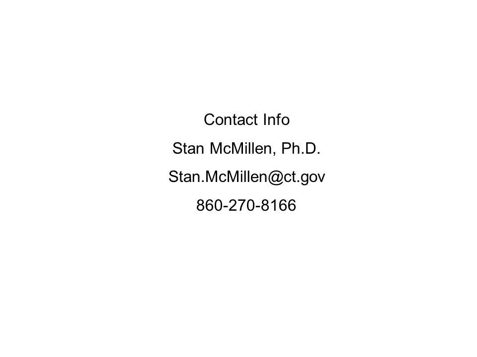 Contact Info Stan McMillen, Ph.D. Stan.McMillen@ct.gov 860-270-8166