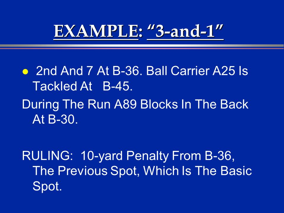 EXAMPLE: 3-and-1 l 2nd And 7 At B-36. Ball Carrier A25 Is Tackled At B-45. During The Run A89 Blocks In The Back At B-30. RULING: 10-yard Penalty From
