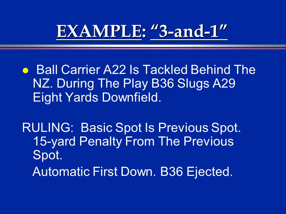 EXAMPLE: 3-and-1 l Ball Carrier A22 Is Tackled Behind The NZ. During The Play B36 Slugs A29 Eight Yards Downfield. RULING: Basic Spot Is Previous Spot