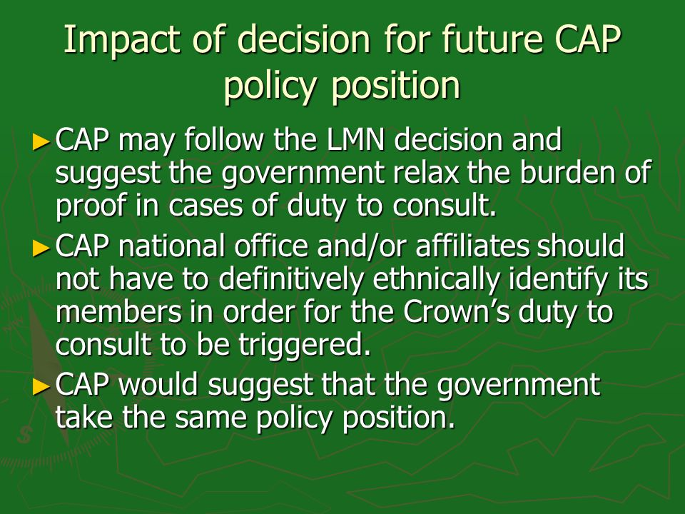 Impact of decision for future CAP policy position CAP may follow the LMN decision and suggest the government relax the burden of proof in cases of dut