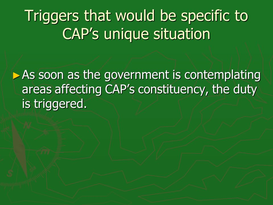 Triggers that would be specific to CAPs unique situation As soon as the government is contemplating areas affecting CAPs constituency, the duty is triggered.